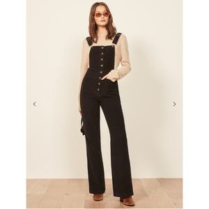 Reformation Black Corduroy Overall New